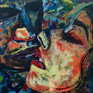Kiss man and woman, acrylic on canvas, 60cmx80cm,2019,Ferrara