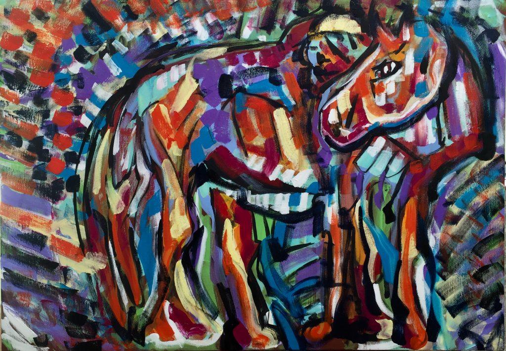 Horse nature painting, acrylic on canvas, cm100xcm70,Ferrara 2019.