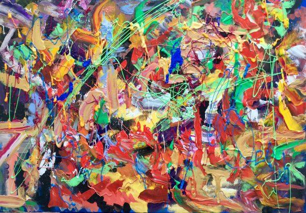 Astratto di fine 2018,acrilico su tela,cm100xcm70,Ferrara,2018