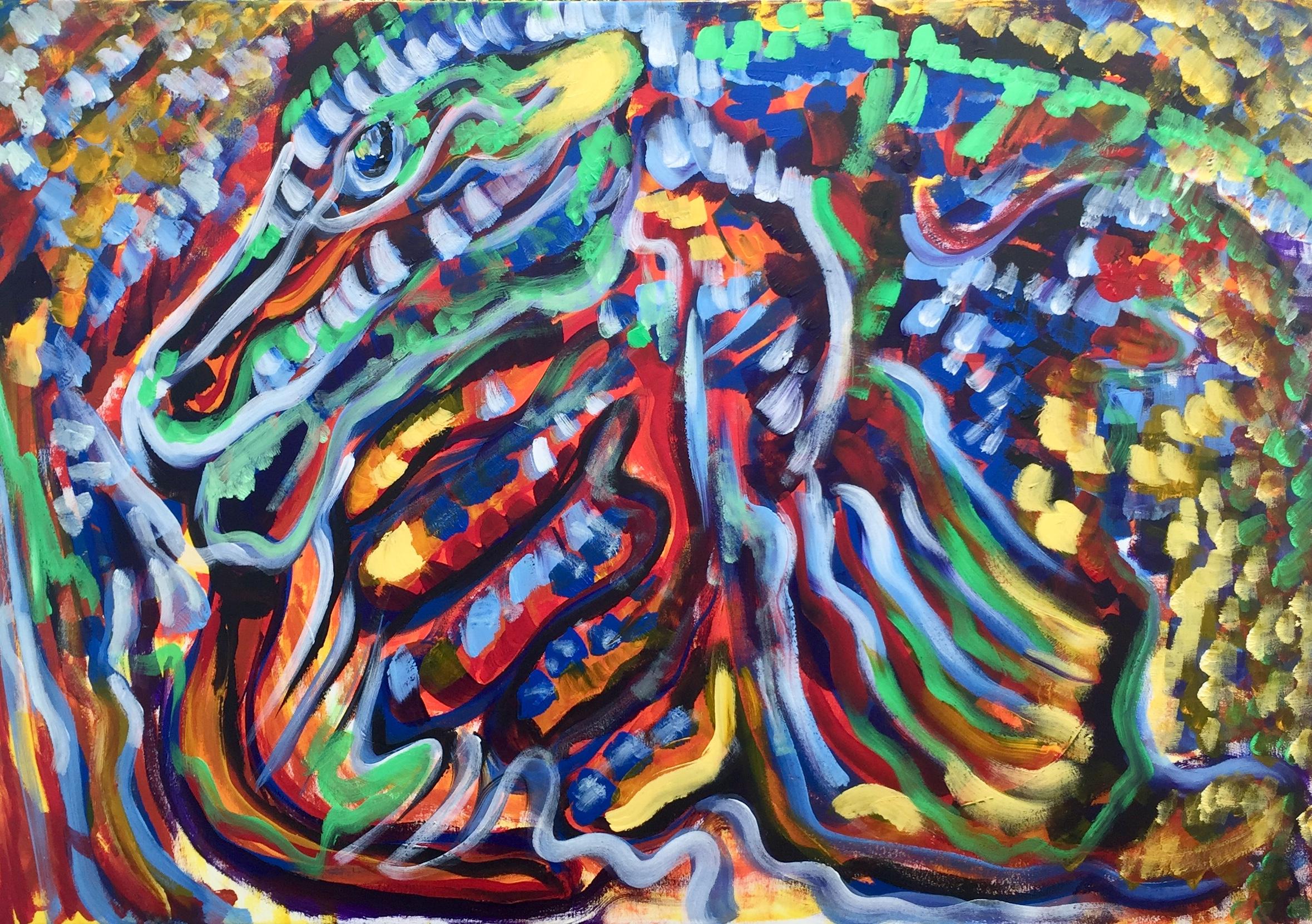 Gammon, acrilico su tela, cm100xcm70,Ferrara,2019