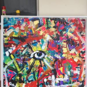 The Eyes of Ra, Acrylic on canvas, framed, 120cmx125cm,2019