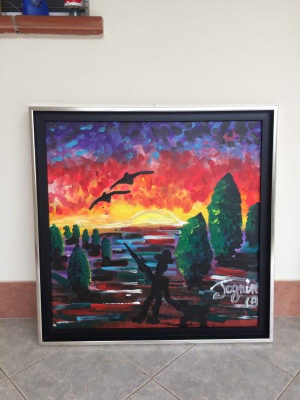 Sunday Bloody Sunday, acrylic on canvas, framed, cm 78 x cm 78, Occhiobello, 2019