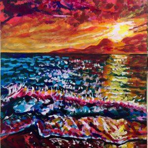 Fuerteventura sunset, acrylic on canvas, cm 60xcm80, unframed, Occhiobello 2019