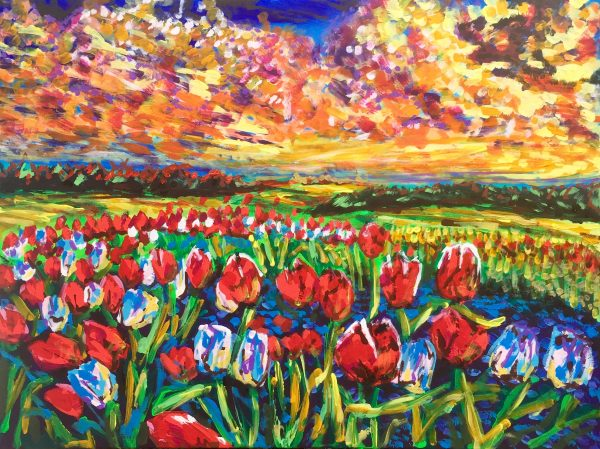Field of poppies, acrylic on canvas, cm 60 xcm 80, 2019, occhiobello, private collections.