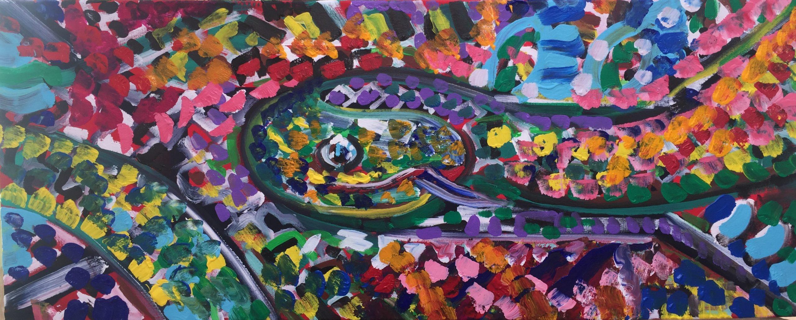 Snake tarragon, acrylic on canvas, 100cm x 40 cm, occhiobello, 2019