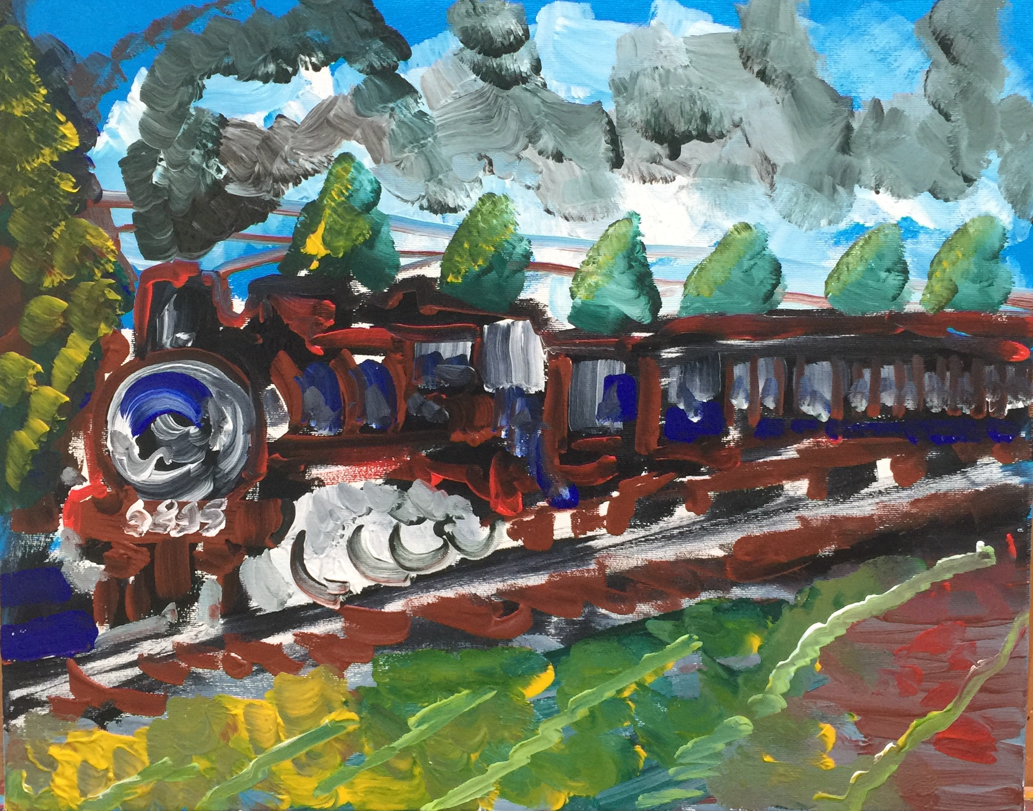 Train 6895 is leaving, acrylic on canvas, cm 40 x cm 50, Occhiobello, 2019,Private Collection
