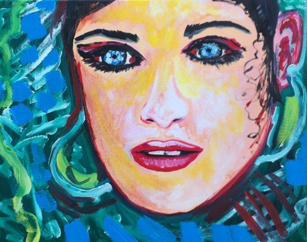 Ocean girl blue eyes, acrylic on canvas, cm 40 x cm 50, Occhiobello, 2019