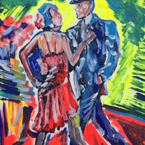 couple dancing tango, cm 40 x cm 50, acrylic on canvas, Occhiobello, 2019