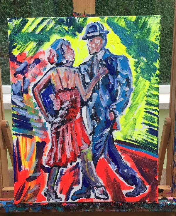 couple dancing tango, cm 40 x cm 50, acrylic on canvas, Occhiobello, 2019