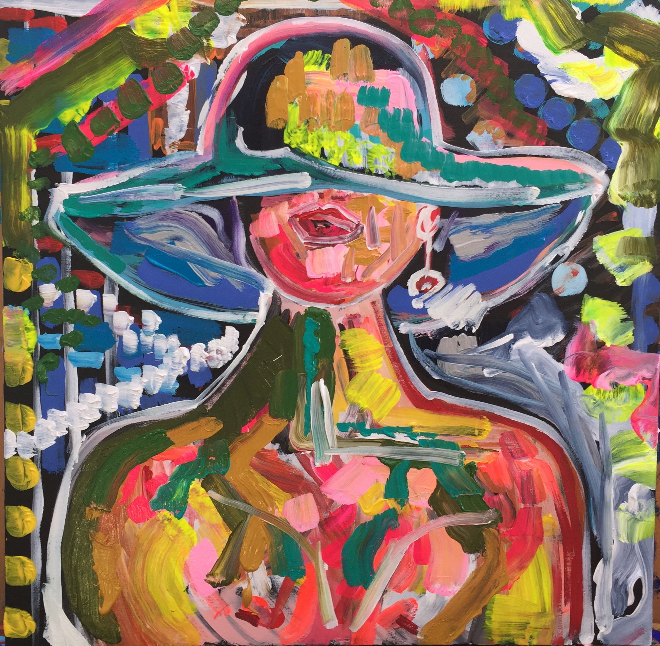 hat and earring, acrylic on canvas, cm 50 x cm 60, Occhiobello, 2019