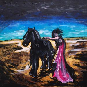Volklan horse's soul of freedom, acrylic on canvas, cm 50 x cm 60, Occhiobello, 2020