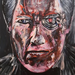 no fate portrait of Arnold Schwarzenegger, acrylic on canvas, cm 50 x cm 60, Occhiobello, 2020