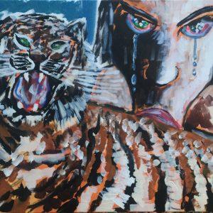 Blow scene of love, acrylic on canvas, cm 50 x cm 70, Occhiobello , 2020