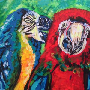 two parrots talk to each other, acrylic on canvas, cm 50 x cm 70, Occhiobello , 2020