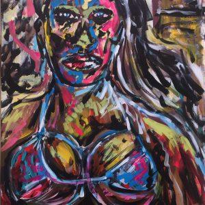 Jamelia superstar, acrylic on canvas, cm 50 x cm 60, Occhiobello , 2020