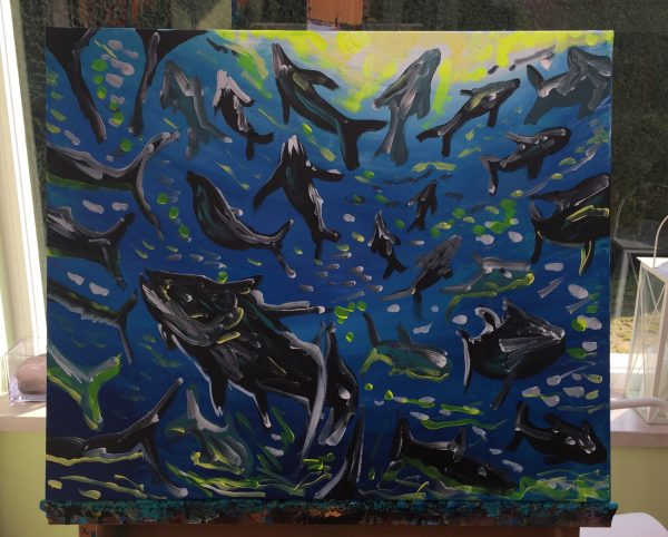 in the deep of the ocean, acrylic on canvas, cm 50 x cm 60, Occhiobello, 2020