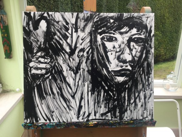 children wood, acrylic on canvas, cm 50 x cm 60, Occhiobello, 2020