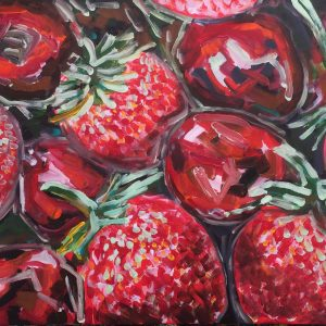 strawberries and cherries, acrylic on canvas, cm 50 x cm 60, Occhiobello, 2020