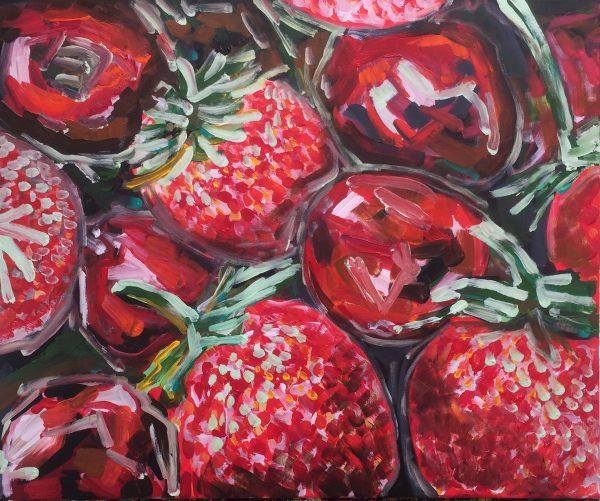 strawberries and cherries, acrylic on canvas, cm 50 x cm 60, Occhiobello, 2020
