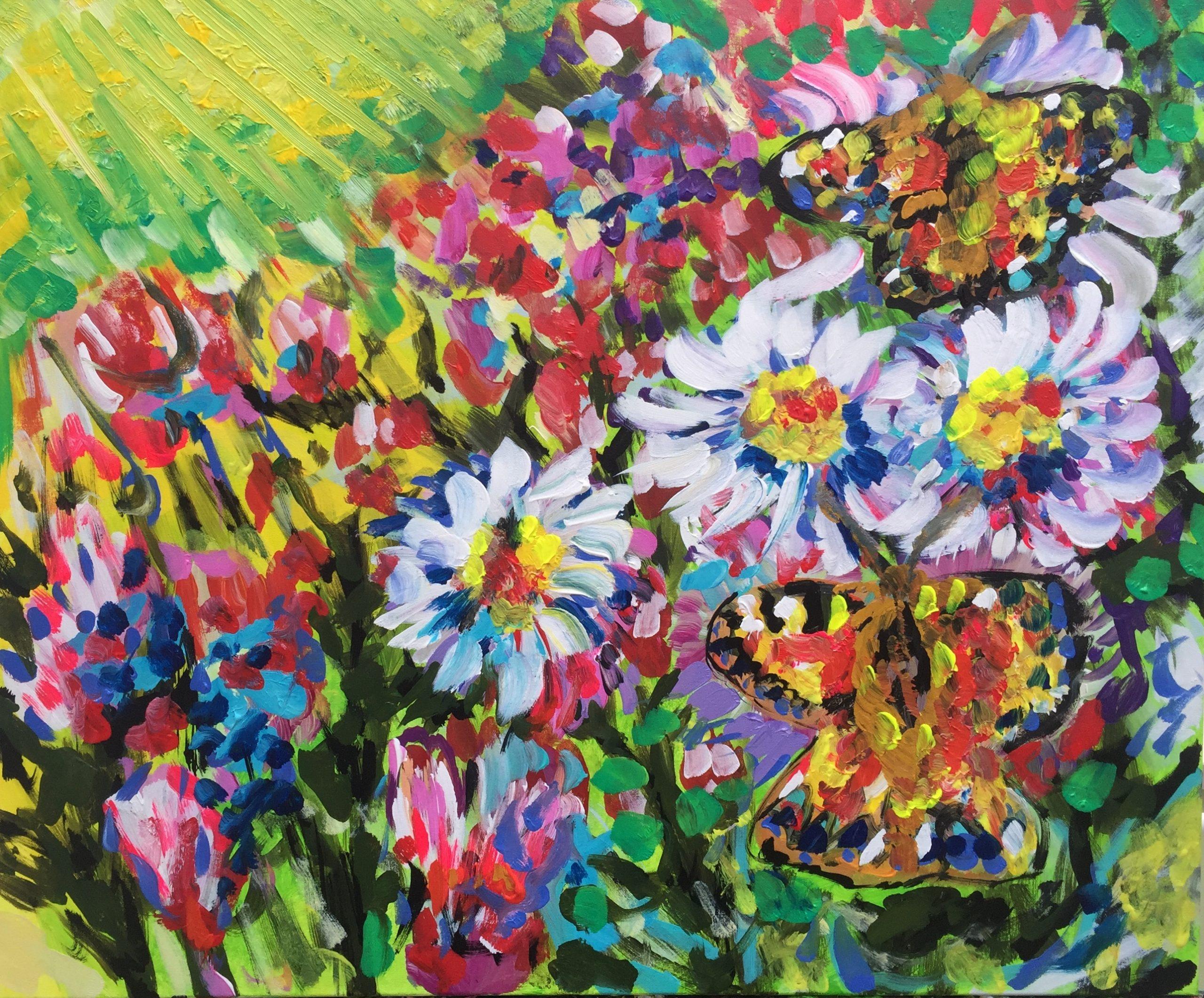 butterflies on the flowers, acrylic on canvas, cm 50 x cm 60, Occhiobello, 2020