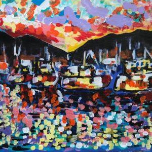 turning to blackwood, acrylic on panels canvas, cm 28 x cm 36, Occhiobello, 2020.