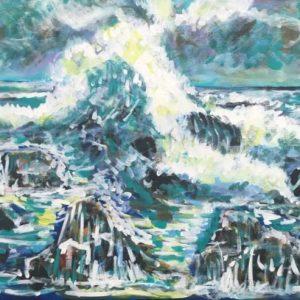 the waves of the sea, acrylic on canvas, cm 50 x cm 70, Occhiobello, 2020.