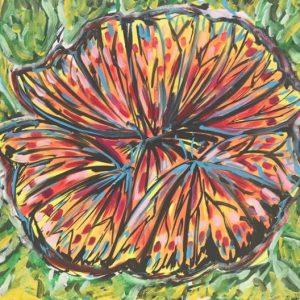 butterflies on the flower, acrylic on canvas, cm 40 x cm 50, Occhiobello, 2020.