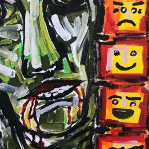 piranha is raising, acrylic on canvas, cm 30 x cm 40, Occhiobello, 2020.