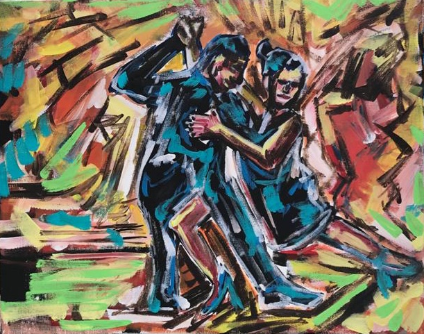 cabaret caffè, acrylic on canvas, cm 40 x cm 50, Occhiobello, 2020.