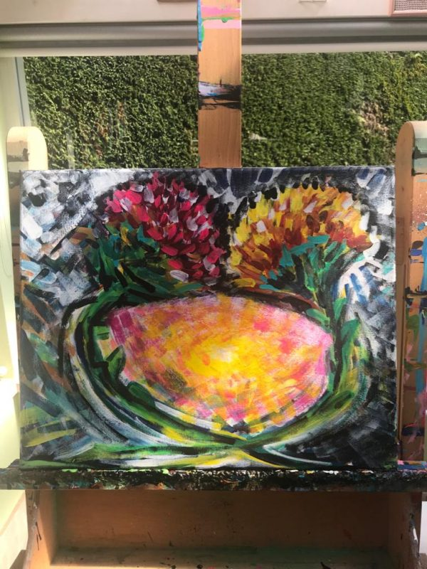 couple of flowers, acrylic on canvas, cm 40 x cm 50, Occhiobello, 2020.