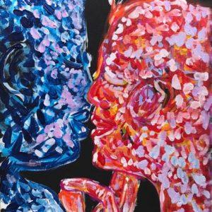 kiss me softly, acrylic on panels canvas, cm 28 x cm 36, Occhiobello, 2020.