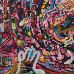 spinning top cyp2d6, acrylic on canvas, cm 50 x cm 60, Occhiobello, 2020.
