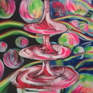 atomic hustle, acrylic on canvas, cm 50 x cm 60, Occhiobello, 2020.