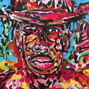 gringo che pasa hombre, acrylic on canvas panels, cm 28 x cm 36, Occhiobello, 2020.