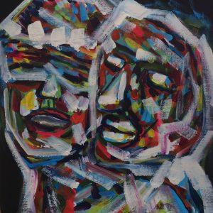 we are one , acrylic on panel canvas, cm 28 x cm 36, Occhiobello, 2020.