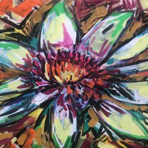 lotus of illumination, acrylic on canvas, cm 40 x cm 50, Occhiobello, 2020.