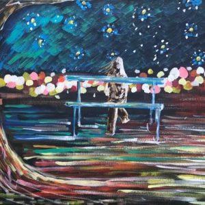 the stars above the skyline, acrylic on canvas, cm 50 x cm 70, Occhiobello, 2020