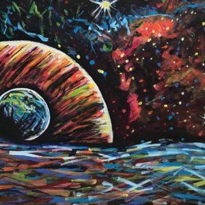 interstellar beyond the stars, acrylic on canvas, cm 60 x cm 80, Occhiobello, 2020