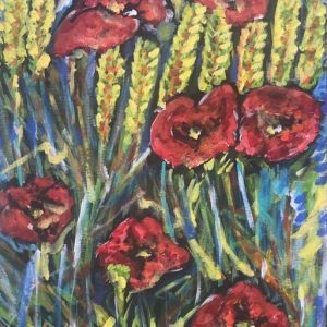 poppies and ears of wheat, acrylic on canvas, cm 50 x cm 70, Occhiobello, 2020