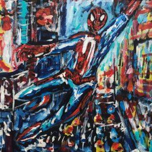 the amazing spiderman, acrylic on panels canvas, cm 23 x 31 cm, Occhiobello, 2020