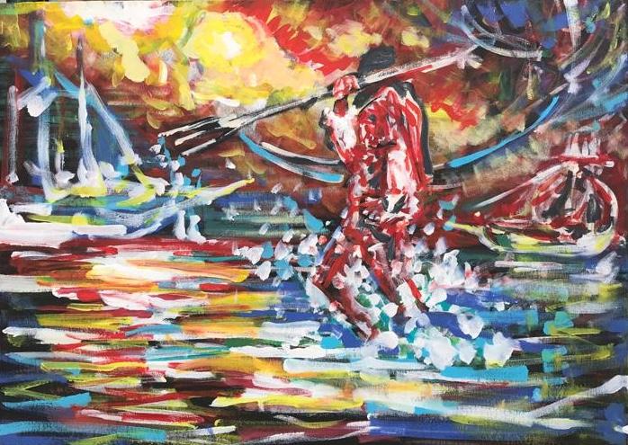 pirates of the caribbean, acrylic con canvas, cm 50 x cm 70, Occhiobello, 2020