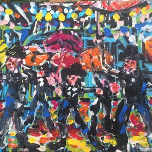 singing in the rain, acrylic on panels canvas, cm 28 x cm 36, Occhiobello, 2020