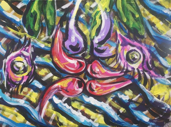 kiss under the mistletoe, acrylic on panels canvas, cm 23 x cm 31, Occhiobello, 2020