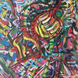 dreams surround you, acrylic on canvas, cm 50 x cm 70, Occhiobello, 2020