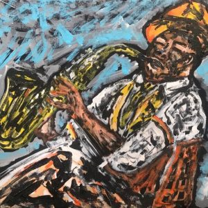 the saxophonist music, acrylic on panels canvas, cm 23 x cm 31, Occhiobello, 2020