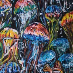 under the sea, acrylic on canvas, cm 60 x cm 80, Occhiobello, 2020