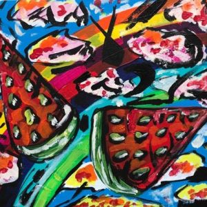 watermelons in the clouds, acrylic on panels canvas, cm 23 x cm 31, Occhiobello, 2020
