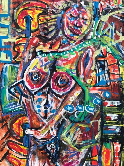 linked deeply, acrylic on canvas, cm 60 x cm 80, Occhiobello, 2020