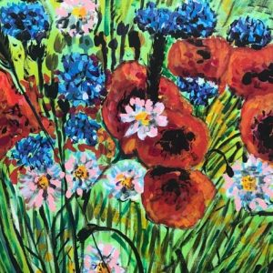 poppies and cornflowers, acrylic on canvas, cm 50 x cm 70, Occhiobello, 2020
