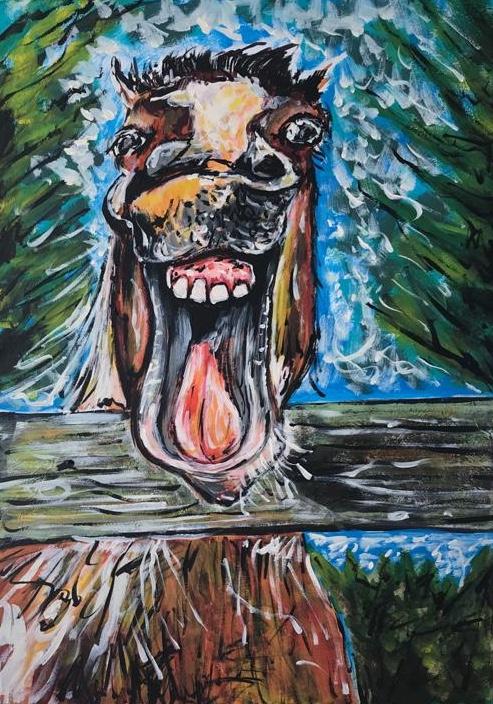 horse smile, acrylic on canvas, cm 50 x cm 70, Occhiobello, 2020